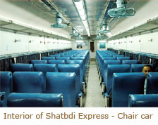 Interior of Shatbdi Express - Chair car, Train Travel in India